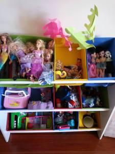 Brinquedos organizados pela Isabela, cada caixa tem um tema.